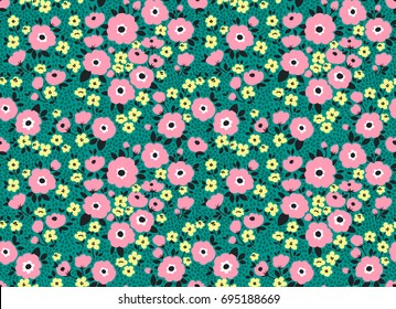 Simple cute pattern in small pink and yellow flowers on dark green background. Liberty style. Ditsy print. Floral seamless background. The elegant the template for fashion prints.