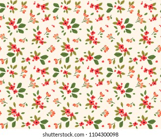 Simple cute pattern in small red flowers on white background. Liberty style. Ditsy print. Floral seamless background. The elegant the template for fashion prints.