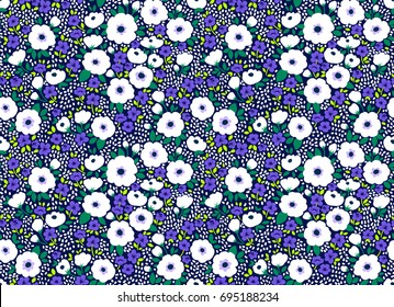 Simple cute pattern in small white and blue flowers on dark blue background. Liberty style. Ditsy print. Floral seamless background. The elegant the template for fashion prints.