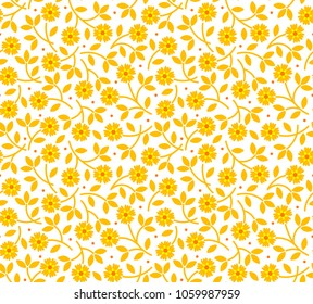 Simple cute pattern in small  yellow flowers on white background. Vintage style. Ditsy print. Floral seamless background. The elegant the template for fashion prints.