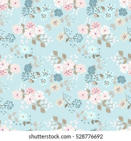 Simple Cute Pattern In Small Scale Flowers Shabby Chic Millefleurs Floral Seamless Background