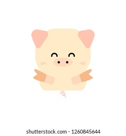 Simple cute pig vector; Chinese New Year 2019; the year of pig.