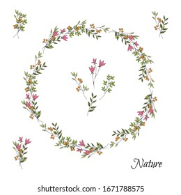 落書き風のピンクとオレンジのシンプルなかわいい花と葉。花輪。白い背景に分離型オブジェクト。手描き。
