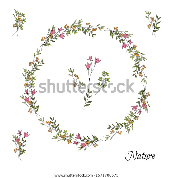 Simple cute pink and orange flowers and leaves in doodle style. Decorative wreath. Isolated object on a white background. Hand drawing.