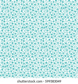 Simple cute seamless pattern with small flowers and leaves. Vector illustration for printing on textile, fabric, wrapping, packing. One color - turquoise on white  Style Millefleurs.