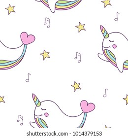 Simple cute seamless pattern with stars, magic rainbow narwhal whale with hearts, notes.  Background for textile, book covers, manufacturing, wallpapers, print, gift wrap and scrapbooking.