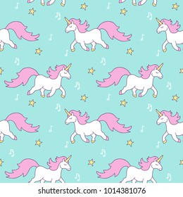 Simple cute seamless pattern with stars, magic rainbow unocorn horse with pink mane, gold hooves, notes.  Background for textile,  manufacturing, wallpapers, print, gift wrap and scrapbooking.