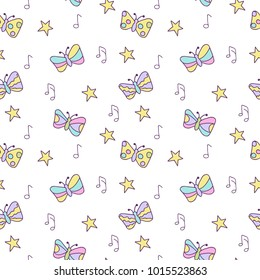 Simple cute seamless pattern with stars, magic rainbow butterflies and notes music. Background for textile, manufacturing, wallpapers, print, gift wrap and scrapbooking.
