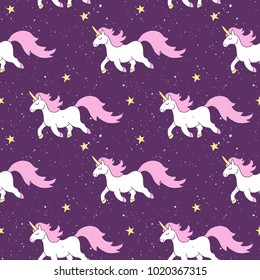 Simple cute seamless pattern with stars, magic rainbow unicorn horse with pink mane, gold hooves on purple grain starry background for textile, wallpapers, print, gift wrap and scrapbooking.
