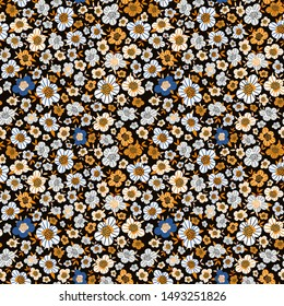 Simple cute small pattern in white, yellow, blue flowers. Floral seamless background in liberty style. Colorful artistic print for textile, book covers, wallpapers, gift wrap, scrapbooking... Vector.