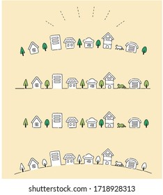 Simple and cute townscape illustration material