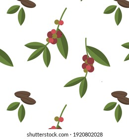 Simple and cute vector pattern with illustrations of coffee tree, coffee beans, coffee berries, and green leaves.