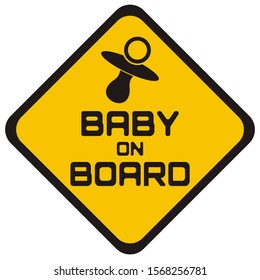 Simple Cutting Sticker with baby on board lettering
