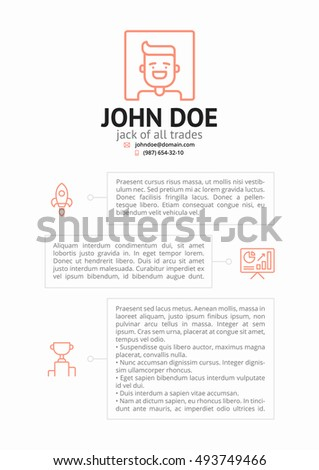 Simple Cv Resume Template Outline Icons Stock Vector Royalty Free