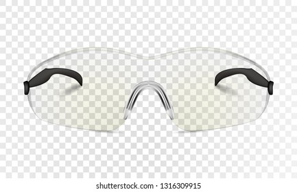Simple cycling glasses realistic. Building protective photorealistic glasses. Vector illustration