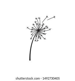 simple dandelion flower vector logo template