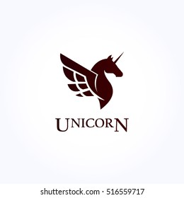 simple dark brown black unicorn head with wing logo vector.