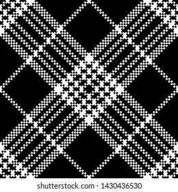 Simple dark fabric check black white seamless pattern. Vector illustration.