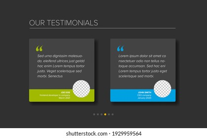 Simple dark minimalistic testimonial review section layout template with two testimonials, testimonial photo placeholders, quotes and blue green color accent