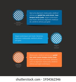 Simple dark minimalistic testimonial review section layout template with three testimonials, photo placeholders, quotes and colorfull blue and red speech bubbles with review text