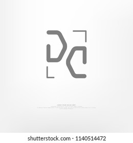 Simple 'DC' in a frame. Modern logo for branding identity. Vector image.