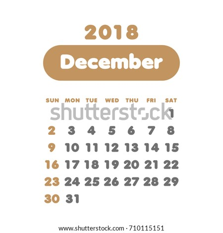 simple december 2018 calendar week starts from sunday