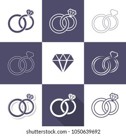 Simple decorative wedding rings icons collection vector illustration