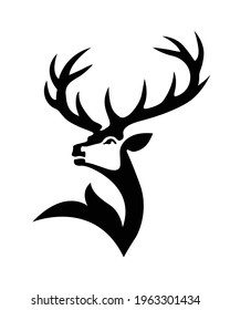 Simple deer with huge horns silhouette vector. Northern reindeer. Wild deer male buck with branched horns. Face of a cute buck logo.