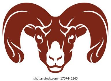 Simple Design of Aggressive Ram Head Sport Logo