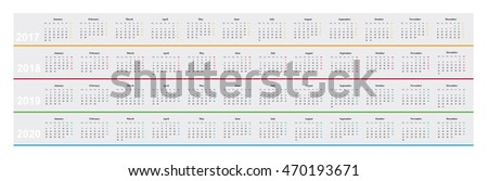 simple design basic calendar year 2017 stock vector royalty free