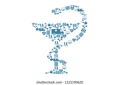 Simple design of bowl of Hygeia made of simple medical symbols and elements isolated on white background. Eps illustration.