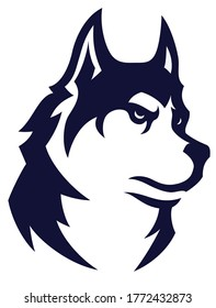 Simple Design of Head of Husky Dog