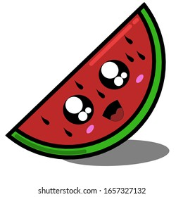 Simple design of illustration watermelon on White background