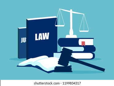 Simple design of legal system elements with books and scales on blue background