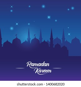 Simple Design Ramadan Greeting with silhouette and flat concept. Stock Vector Design