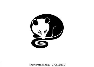 Simple Design of Sleeping possum (opossum)