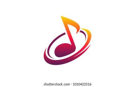 Simple Designs Music Audio iconic logo template vector