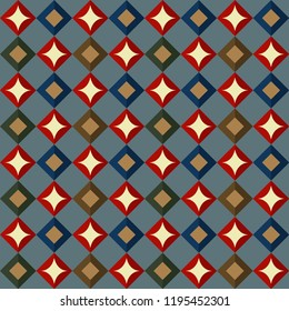Simple diamond geometric allover motif in blue, green, red, gold bronze. Ditsy argyle design on a heather gray background for fabric, interior textile, phone case. Diagonal stripes checkered ornament.