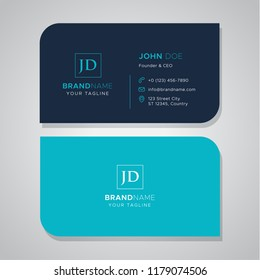 Simple die cut blue business card template