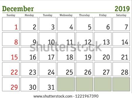 Simple Digital Calendar December 2019 Vector Stock Vector Royalty