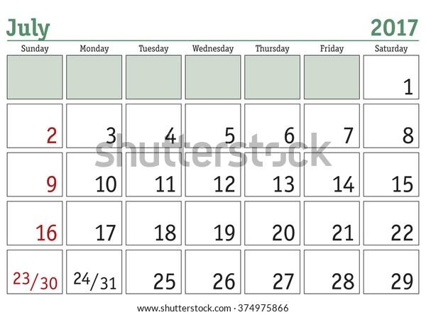 Simple Digital Calendar July 2017 Vector Stock Vector