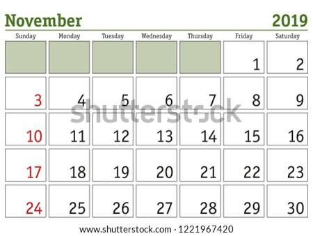 Simple Digital Calendar November 2019 Vector Stock Vector Royalty