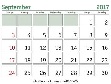 simple digital calendar october 2017 vector stock vector royalty