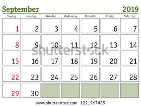 Simple Digital Calendar September 2019 Vector Stock Vector Royalty
