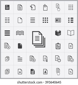 Simple document icons set. Universal document icons to use for web and mobile UI, set of basic UI document elements