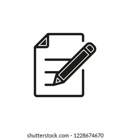 Simple Document with Pen Vector Icon