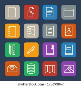 Simple Documents and Library icons set for Website and Mobile applications. Flat design.