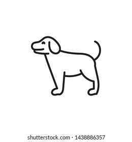Simple dog line icon. Stroke pictogram. Vector illustration isolated on a white background. Premium quality symbols. Vector sign for mobile app and web sites