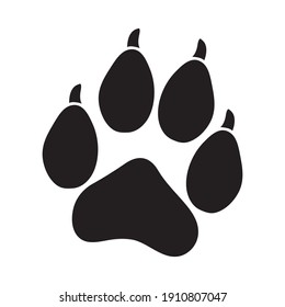 Simple dog paw with nails vector symbol isolated on white. Animal paw print.