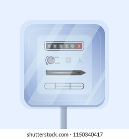 Simple domestic analogue electricity or electrical meter isolated on light background. Device measuring consumed electric energy in kilowatt hours. Colorful vector illustration in flat style.